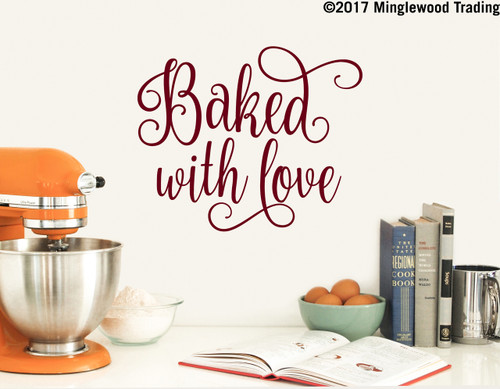BAKED WITH LOVE Vinyl Decal Sticker - Home Kitchen Decor