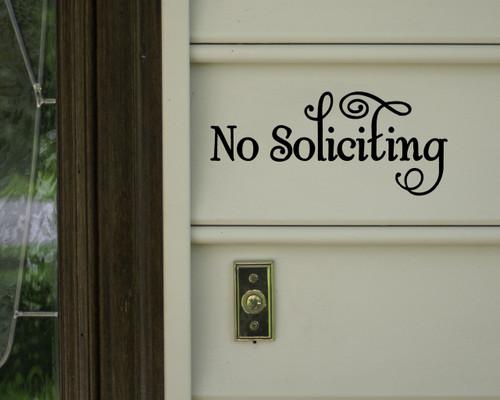 "No Soliciting Vinyl Decal Sticker Window Door Solicitation Sales 8"" x 3.5"""
