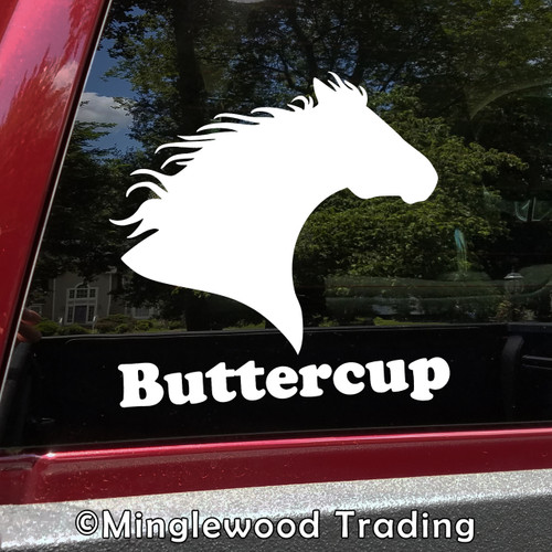 Horse Head -V6- with Personalized Name Vinyl Decal Sticker - Equestrian Farm Riding Dressage Equine Profile Silhouette
