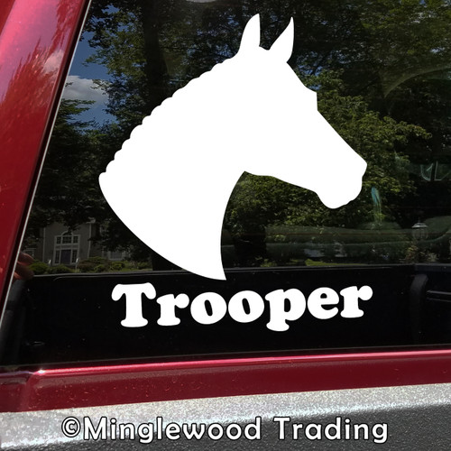 Horse Head -V7- with Personalized Name Vinyl Decal Sticker - Equestrian Farm Riding Dressage Equine Profile Silhouette