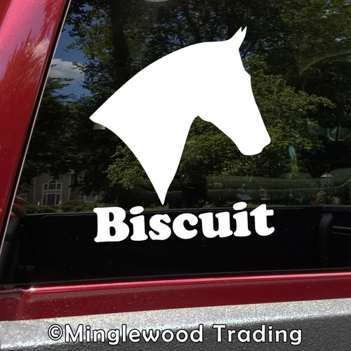 Horse Head -V8- with Personalized Name Vinyl Decal Sticker - Equestrian Farm Riding Dressage Equine Profile Silhouette
