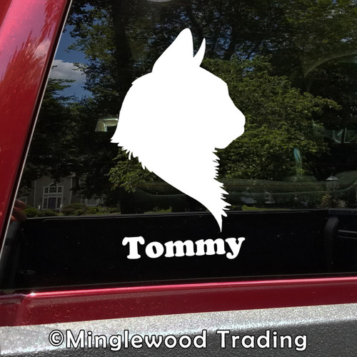 Cat Head with Personalized Name Vinyl Decal Sticker - Profile Silhouette Feline Kitten Pet