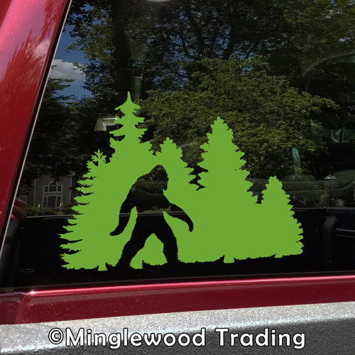 Bigfoot in Treeline V1 Vinyl Decal - Pine Trees Forest PNW Sasquatch - Die Cut Sticker