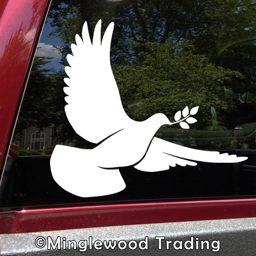 DOVE with Olive Branch Vinyl Decal Sticker -V4-  Bird Peace Love Hope Salvation