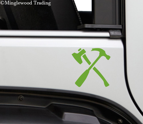 CROSSED HAMMER and AXE - Vinyl Decal Sticker - Carpenter's Tools Woodworking