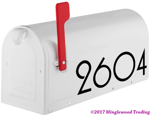 "Art Deco Mailbox Numbers - Vinyl Sticker - 1-10"" tall - Modern Contemporary - Home Business Address - Die Cut Decal - PLZ"