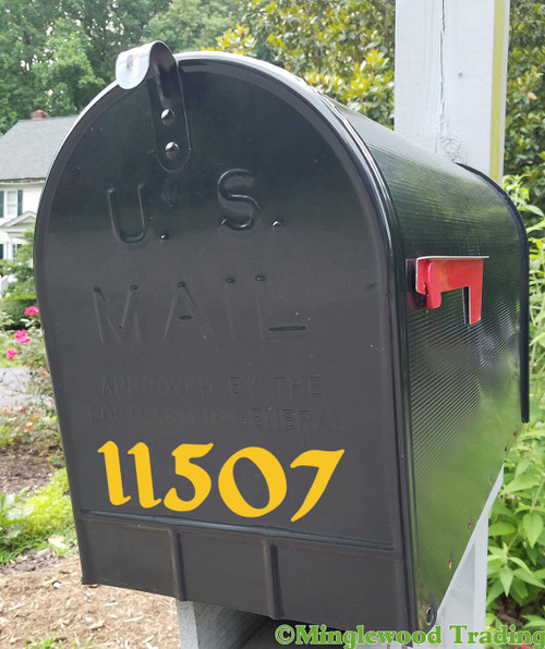 "Antique Medieval Style Mailbox Numbers - Vinyl Sticker - 1"" to 10"" tall - Name Home House Office Address - DG"