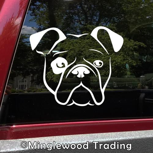 BULLDOG HEAD Vinyl Sticker -V1- English American Bully Dog Puppy - Die Cut Decal