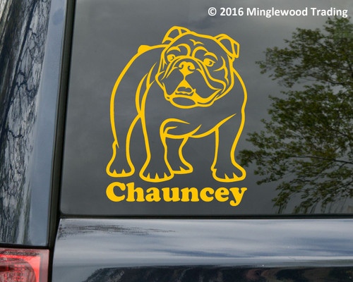 English bulldog vinyl die cut decal sticker by Minglewood Trading.