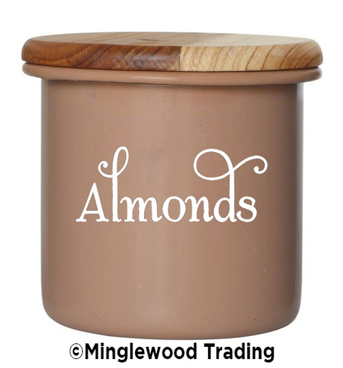 ALMONDS Vinyl Sticker - Pantry Organization Kitchen Canister Label - Die Cut Decal - Swash