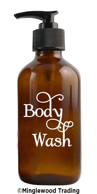 BODY WASH Vinyl Sticker - Bathroom Label - Shower Bath - Die Cut Decal - Swash