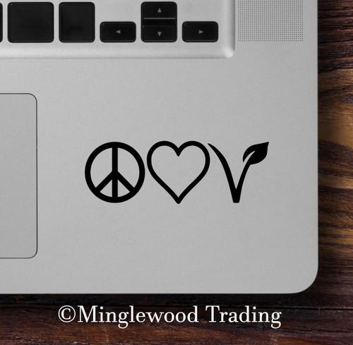 PEACE LOVE VEGAN Vinyl Sticker - Sign Leaf Heart - Die Cut Decal