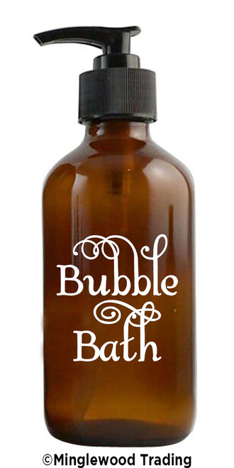 BUBBLE BATH Vinyl Sticker - Bathroom Organization Label - Bathtub - Die Cut Decal - Swash