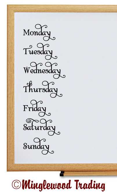 Days of the Week Vinyl Stickers - Organization Labels - Die Cut Decals - Swash