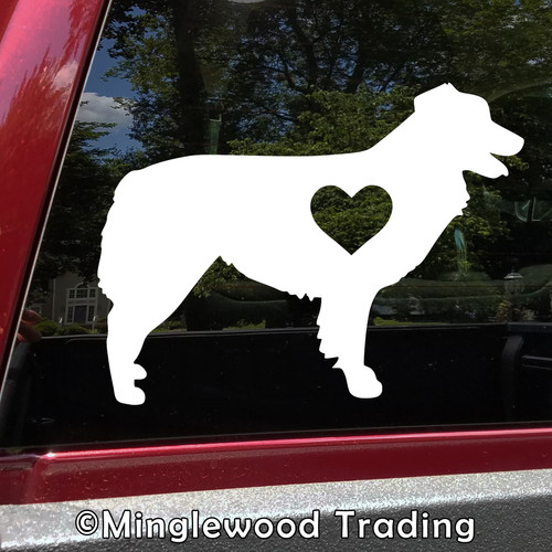 AUSTRALIAN SHEPHERD with HEART Vinyl Sticker -V1- Love Auss Aussie Dog Puppy - Die Cut Decal