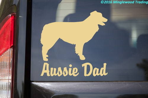 AUSSIE DAD Vinyl Sticker -V1- Australian Shepherd Auss Dog Puppy - Die Cut Decal