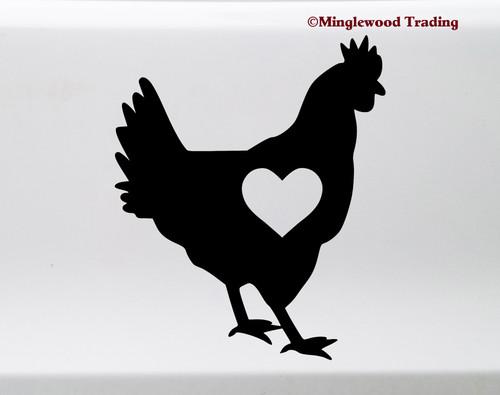 Chicken with Heart Vinyl Sticker - Love Hen Rooster Farm Animal - Die Cut Decal