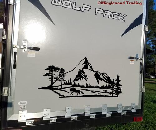 Horse Mountain Scene Vinyl Sticker - Camper RV Travel Trailer Graphics - Die Cut Decal