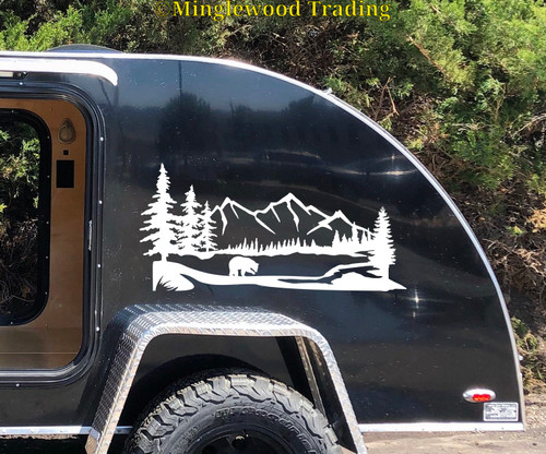 Bear Mountain Trees Scene Vinyl Sticker - Camper RV Travel Trailer Graphics - Die Cut Decal
