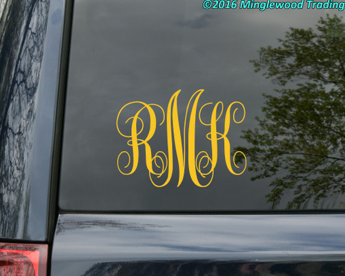 Monogram Vinyl Sticker - Custom Family Initials Name - Personalized Die Cut Decal - TRADITIONAL