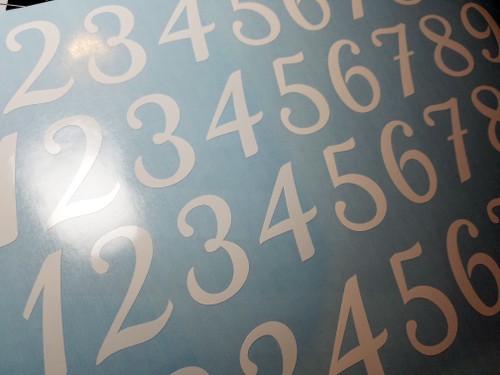 Calligraphy Die Cut Numbers - Vinyl Decals Stickers - 4 sets of 0-9 - Mailbox - KATHYA