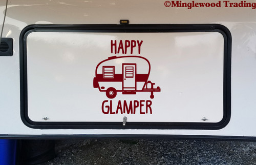 HAPPY GLAMPER Vinyl Sticker - RV Travel Trailer TT Camping 5th Wheel Glamping Die Cut Decal