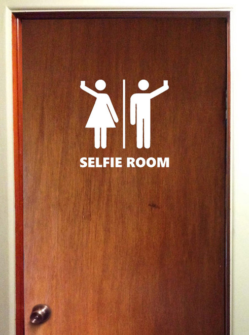 Selfie room bathroom restroom vinyl die cut decal sticker by Minglewood Trading