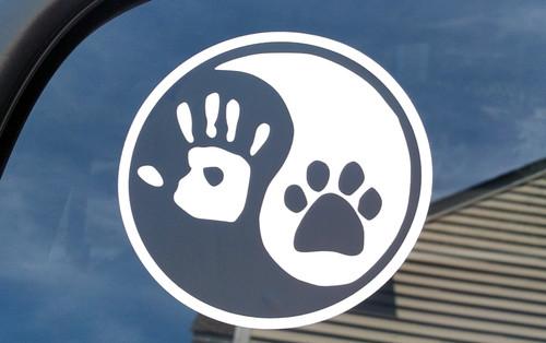 "2 Pack - 3"" Yin Yang Hand Paw Stickers - Dog Cat Puppy Kitten Animal Pawprint - Vinyl Die Cut Decals"
