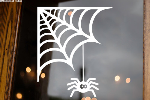 Spider's Web Vinyl Sticker - Halloween Spooky - V2 Die Cut Decal