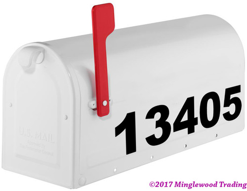 """Bold Modern Mailbox Numbers Vinyl Sticker - 1"""" to 10"""" tall - Name Home House Office Address - AB"""