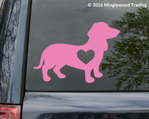Dachshund with Heart Vinyl Sticker V2 - Wiener Dog Puppy Doxie Love - Die Cut Decal