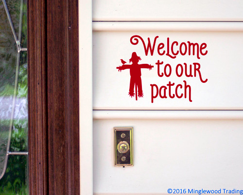 Welcome to our Patch Vinyl Sticker - Scarecrow Halloween Fall Autumn - Die Cut Decal