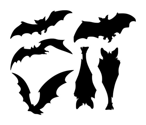 Sheet Set of 6 Bats Vinyl Stickers - Halloween Spooky - V1 Die Cut Decals