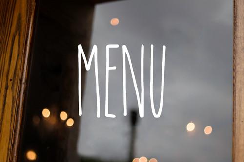 Menu Vinyl Sticker - Rae Dunn Inspired Farmhouse Style Skinny Font - Home Kitchen Organization Decor - Die Cut Decal