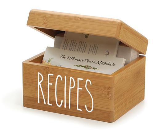 Recipes Vinyl Sticker - Rae Dunn Inspired Farmhouse Style Skinny Font - Home Kitchen Organization Decor - Die Cut Decal