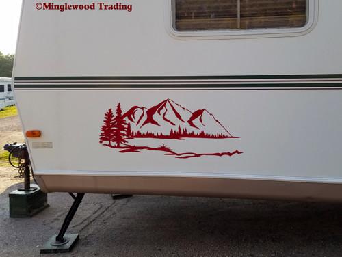 Lake Mountain Trees Scene Vinyl Sticker - Camper RV Travel Trailer Graphics - Die Cut Decal
