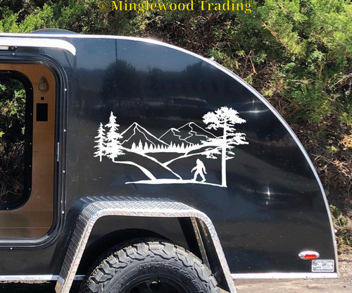 Bigfoot Mountain Scene V1 Vinyl Sticker - Camper RV Travel Trailer Graphics 4x4 - Die Cut Decal