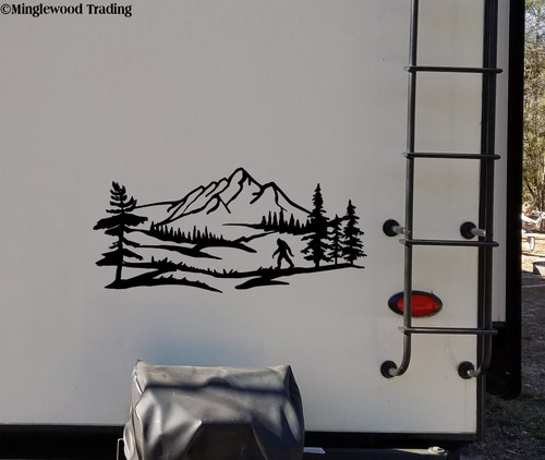 Bigfoot Mountain Trees Scene V2 Vinyl Sticker - Camper RV Travel Trailer Graphics 4x4 - Die Cut Decal