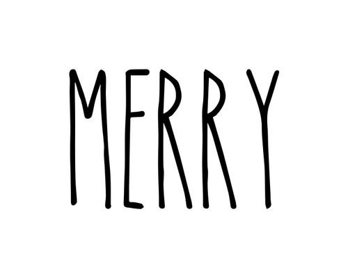 Merry Vinyl Sticker - Christmas Decor Farmhouse Skinny Font Rae Dunn Inspired - Home Die Cut Decal