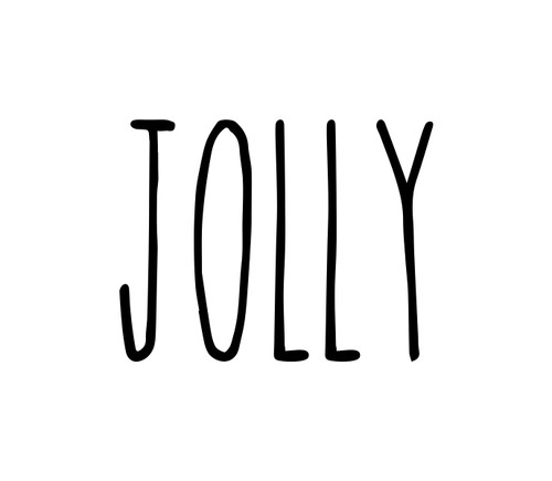 Jolly Vinyl Sticker - Santa Claus Christmas Decor Farmhouse Skinny Font Rae Dunn Inspired - Home - Die Cut Decal