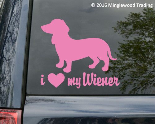 I Love My Wiener Vinyl Sticker - Dachshund Heart Doxie Dog Puppy - Die Cut Decal