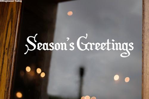 Season's Greetings Vinyl Decal - Merry Christmas Happy Holidays - Die Cut Sticker
