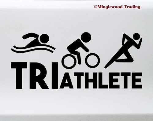 Triathlete Vinyl Decal - Swim Bike Run Triathlon Race Sport - Die Cut Sticker