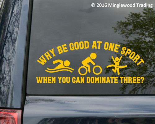 Why Be Good at One Sport? Vinyl Decal - Triathlon Swim Bike Run - Die Cut Sticker