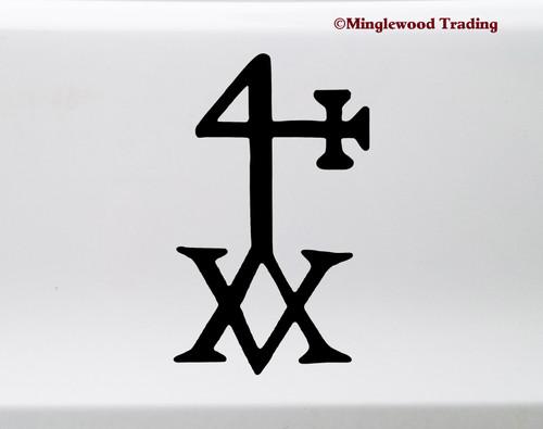 Hermetic Cross Vinyl Decal - Hermes Alchemy Blessing Symbol - Die Cut Sticker