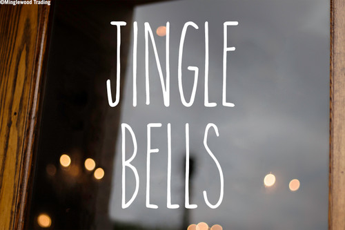 Jingle Bells Vinyl Sticker - Farmhouse Style Skinny Font - Winter Christmas Home Kitchen Decor - Die Cut Decal