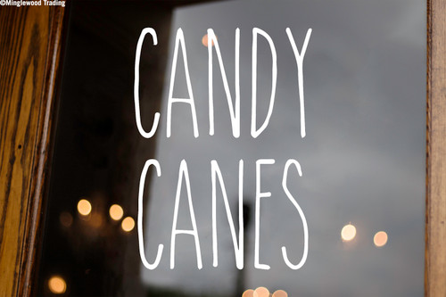 Candy Canes Vinyl Sticker - Farmhouse Style Skinny Font - Christmas Holidays Home Kitchen Decor - Die Cut Decal