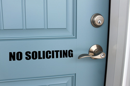 No Soliciting Vinyl Decal - V1 Storefront Business Office Sign - Die Cut Sticker