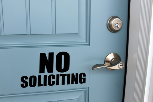 No Soliciting Vinyl Decal - V2 Storefront Business Office Sign - Die Cut Sticker
