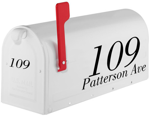 Set of 2 Decorative Address Vinyl Decals - Mailbox Numbers with Street Name - Home House Office Address - BOD